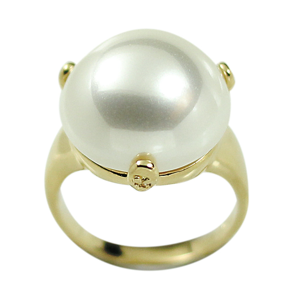 Stunning Three Prong Set Cabochon Simulated Pearl Ring