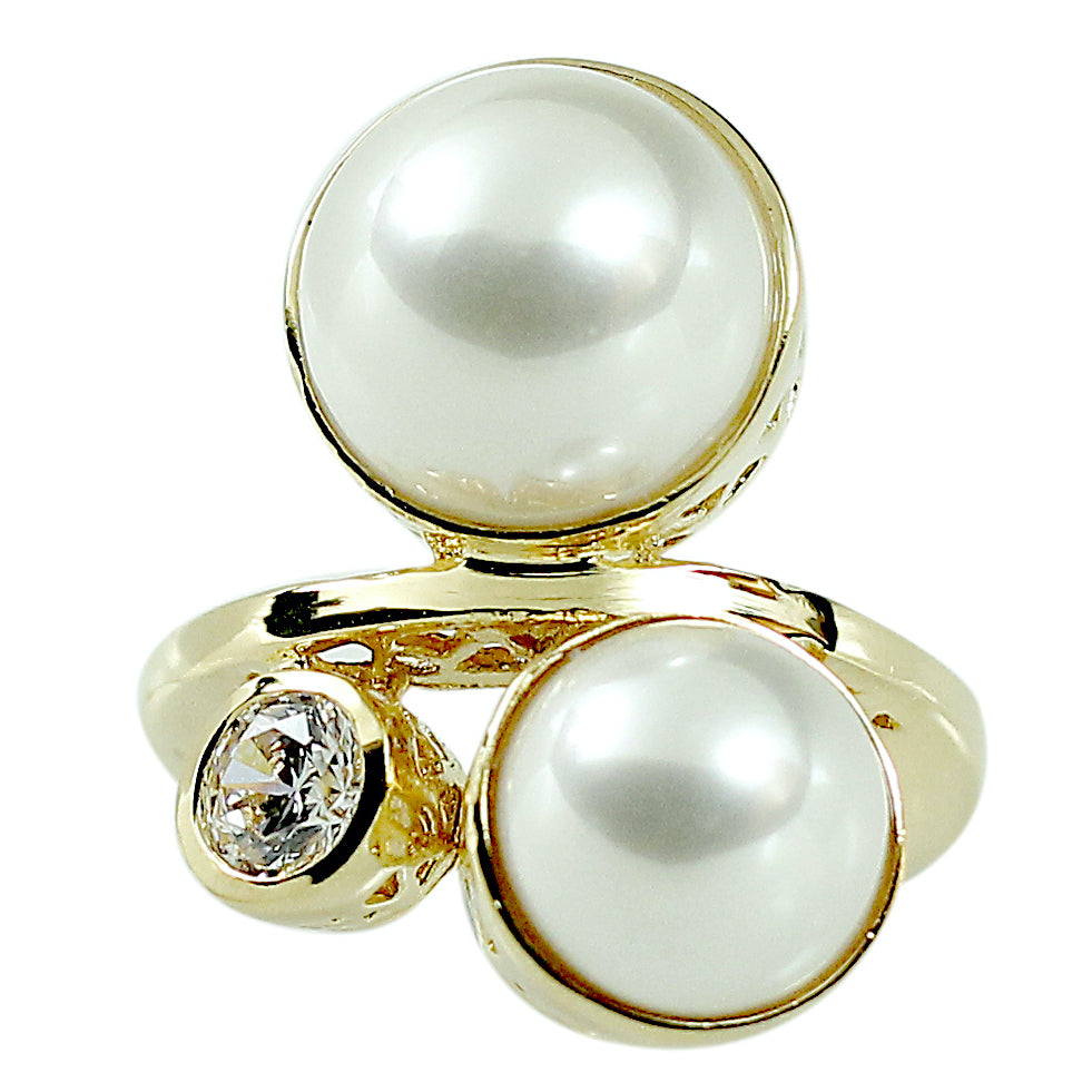 Double Cabochon Simulated Pearl Clear Stones Ring