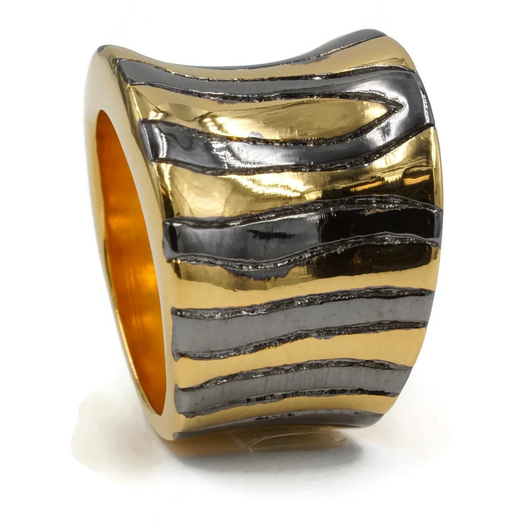 Wide Curved Abstract Etching Gold Black Rhodium Accent Ring