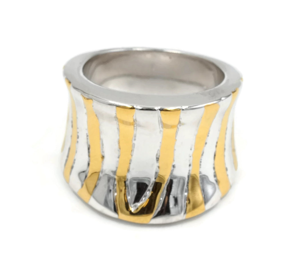Wide Curved Abstract Etching Silver Gold Accent Ring