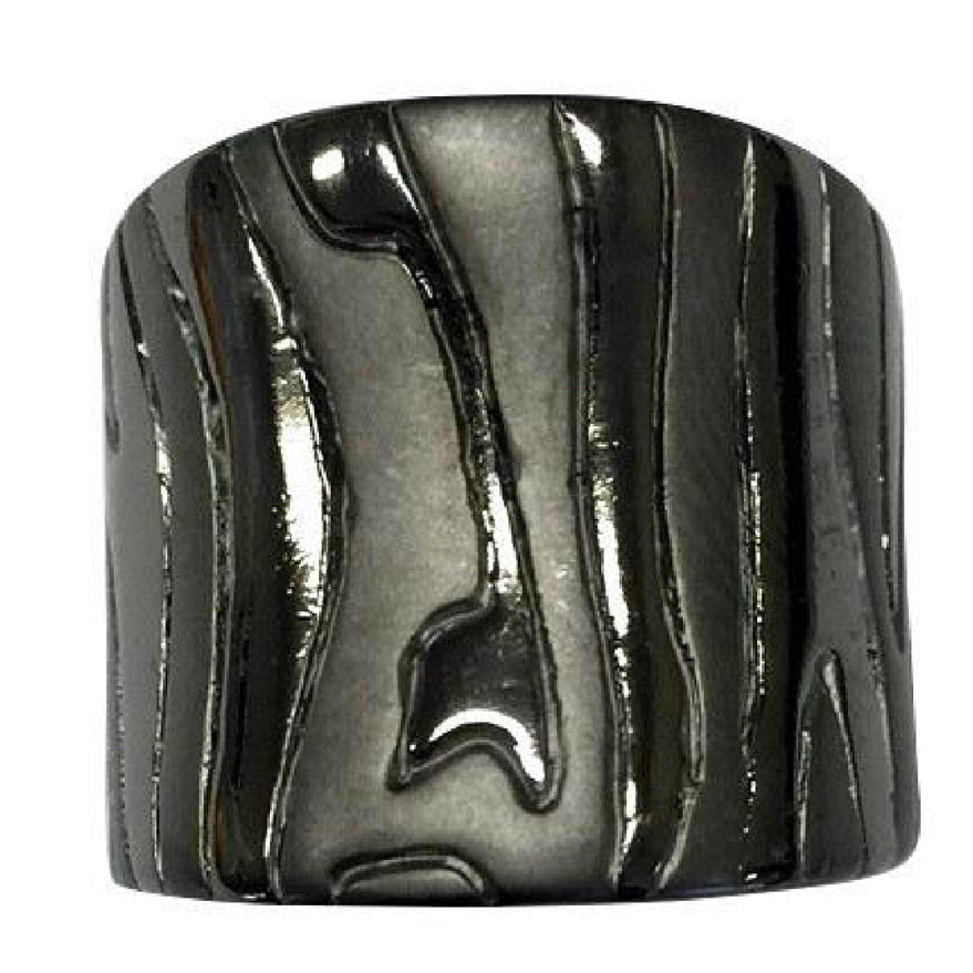 Wide Abstract Etching Matte Shiny Black Rhodium Ring