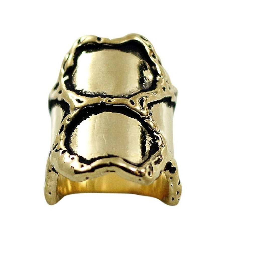Large Honeycomb Inspired Gold Black Antique Accent Ring