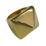 Wide Trendy Pyramid Gold Tone Fashion Ring