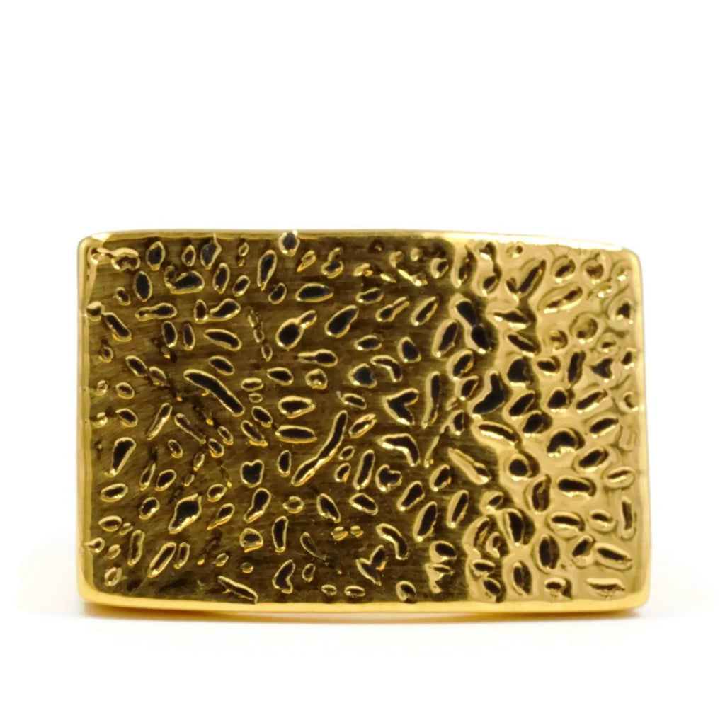 Exclusive Trendy Bold Rectangular Flat Antique Texture Ring
