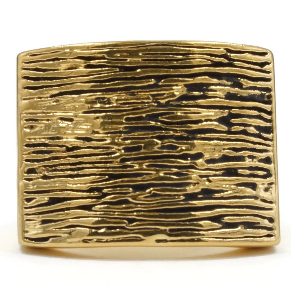 Rectangular Rustic Wood-Inspired Gold Black Antique Accent Ring
