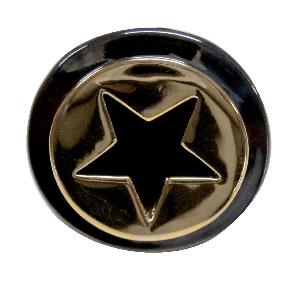 Two Tone Black Rhodium Gold Flat Circle Cut Out Star Ring