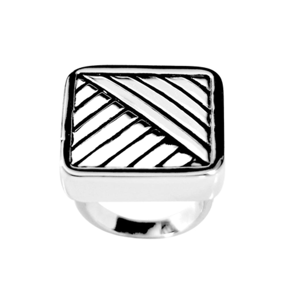 Big Mod Inspired Solid Square Black Accent Ring