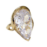 Large Teardrop Gold Tone Cocktail Ring Clear Stone