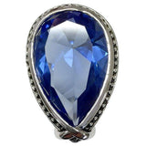 Large Antique Trim Blue Teardrop Stone Cocktail Ring
