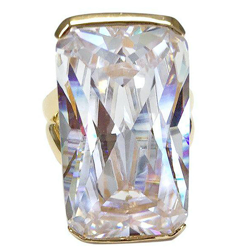 Oversized Emerald Cut Clear CZ Goldtone Fashion Ring