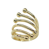 6 Row Modern Twist Wrap Fan Ring Ball Point Edges Gold