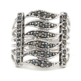 Wide Openwork Band Genuine Marcasite Ring