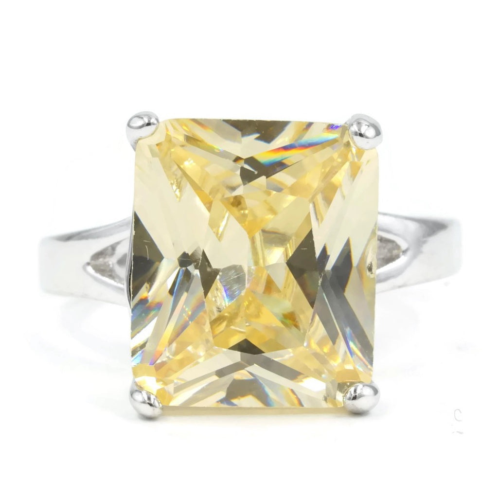 Large Emerald Cut Pale Canary Yellow Stone Ring