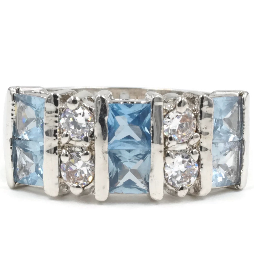 Ten Stone Bling Princess Cut Dusty Aqua Spinel Ring