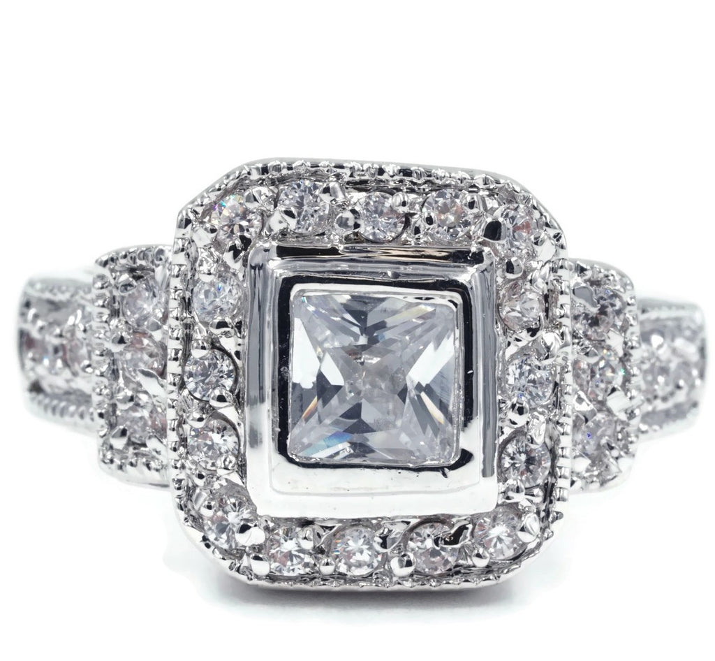 Vintage Look Bezel Set Princess Cut Ring