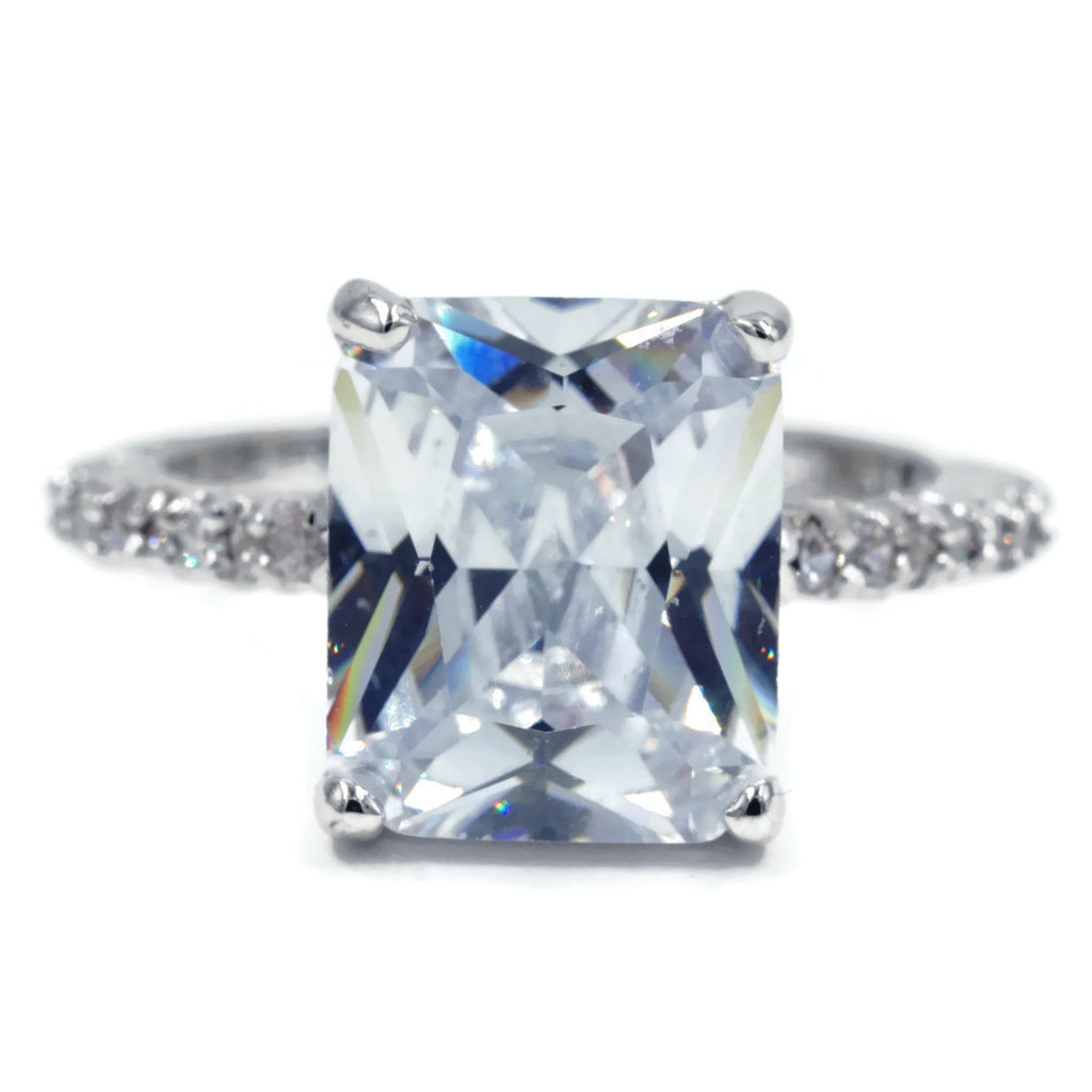 Large Emerald Cut Solitaire Clear Stone Ring