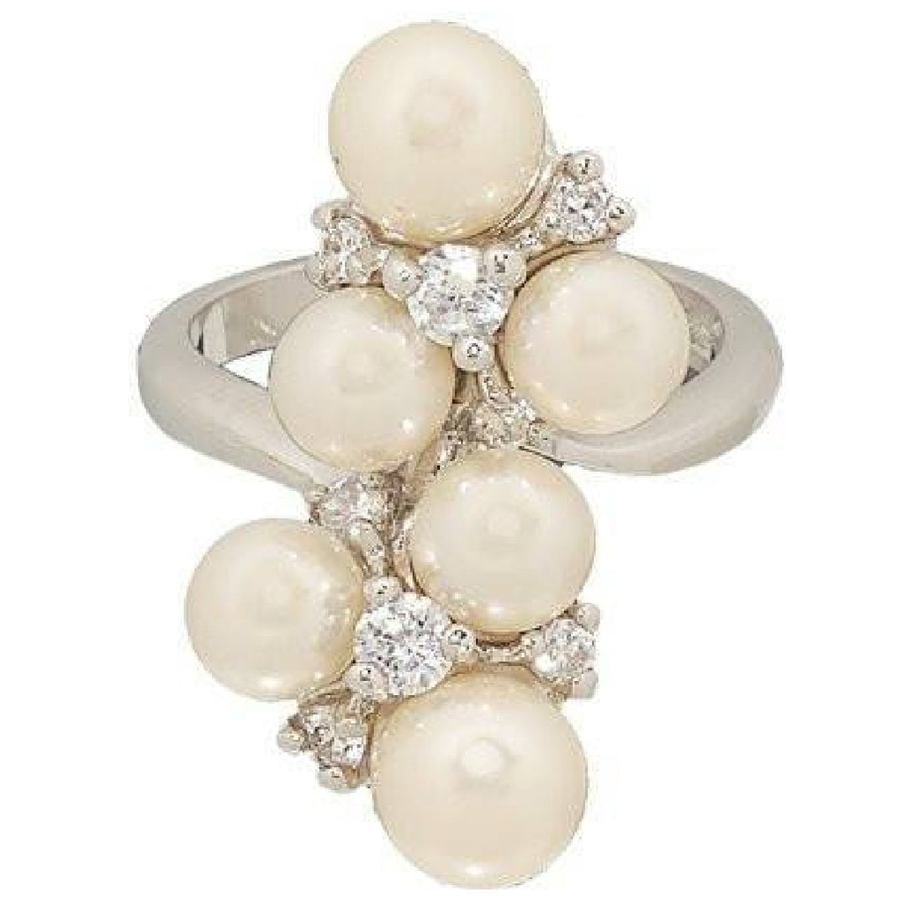 Sparkly Simulated Pearl Cluster Cocktail Ring