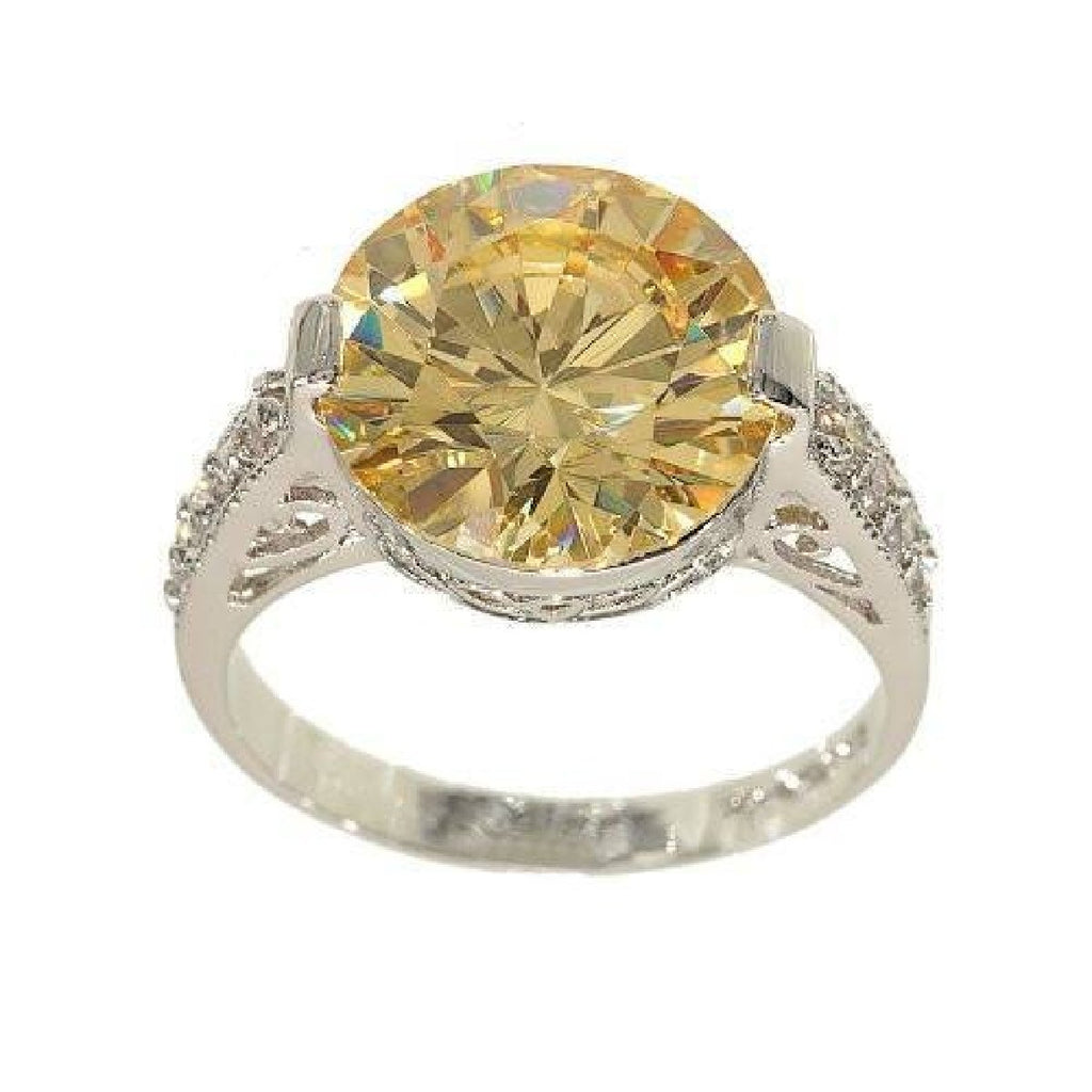 Large Pale Yellow Solitaire Unique Setting Detail Ring