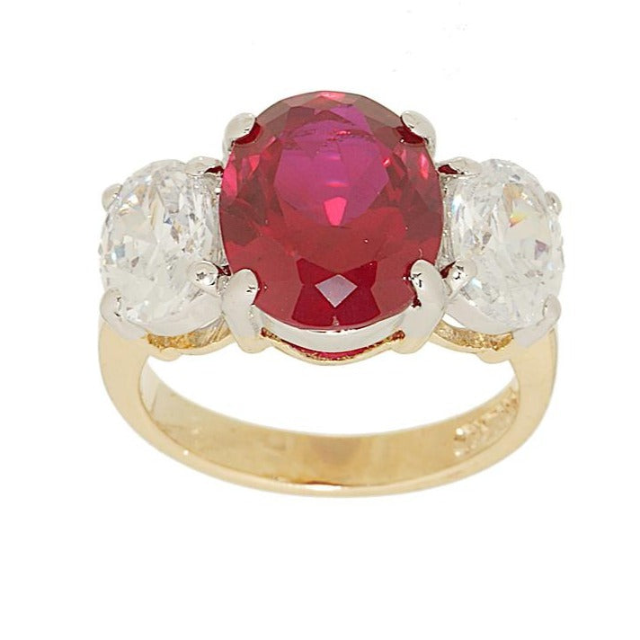 Big Three Stone Ring Oval Cut Synthetic Ruby Ring