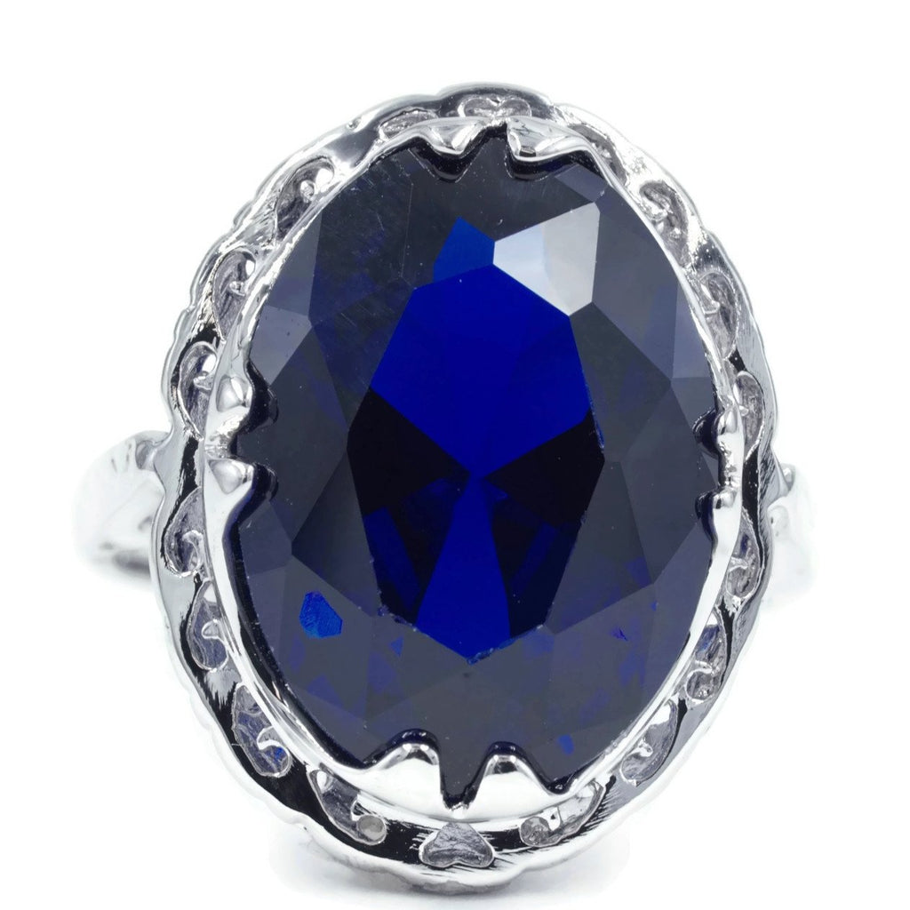 Large Oval Sapphire Spinel Unique Framed Setting Ring