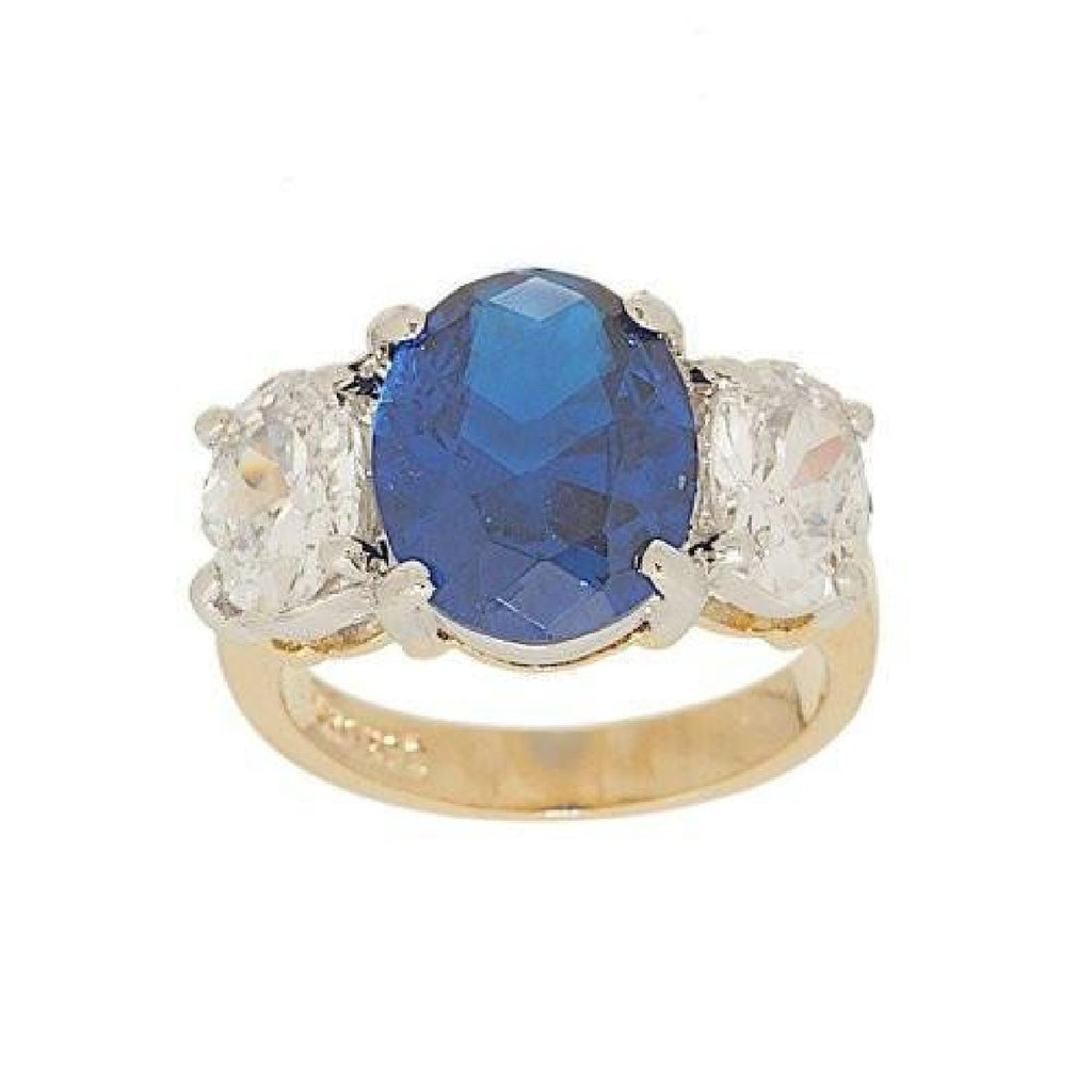 Big Three Stone Ring Oval Cut Synthetic Sapphire Ring
