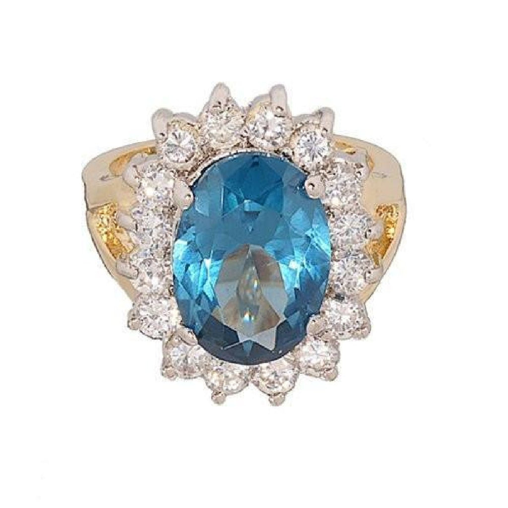 Stunning Oval Blue Zircon and Cubic Zirconia Cocktail Ring