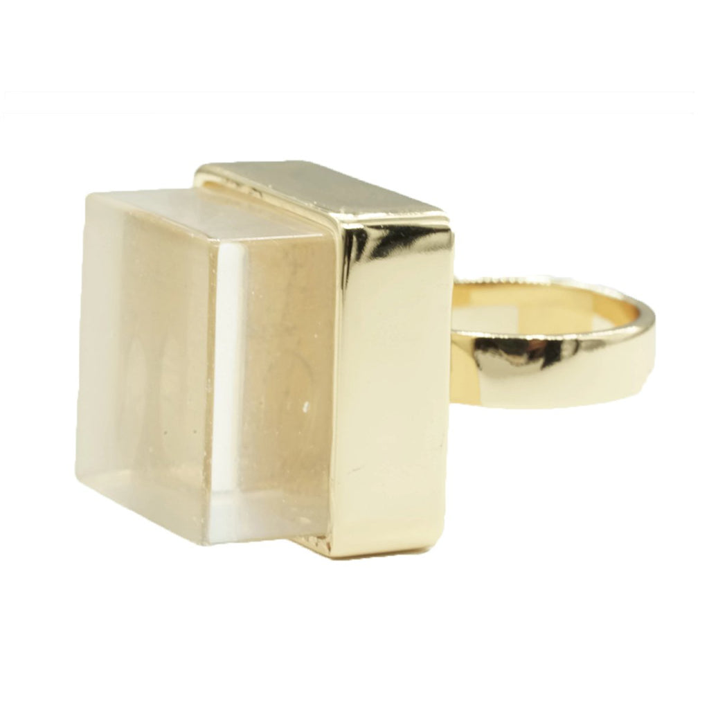 Large Raw Crystal Cube Stone Gold Tone Fashion Ring