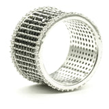 Black and White CZ Cluster Silvertone Fashion Ring Band