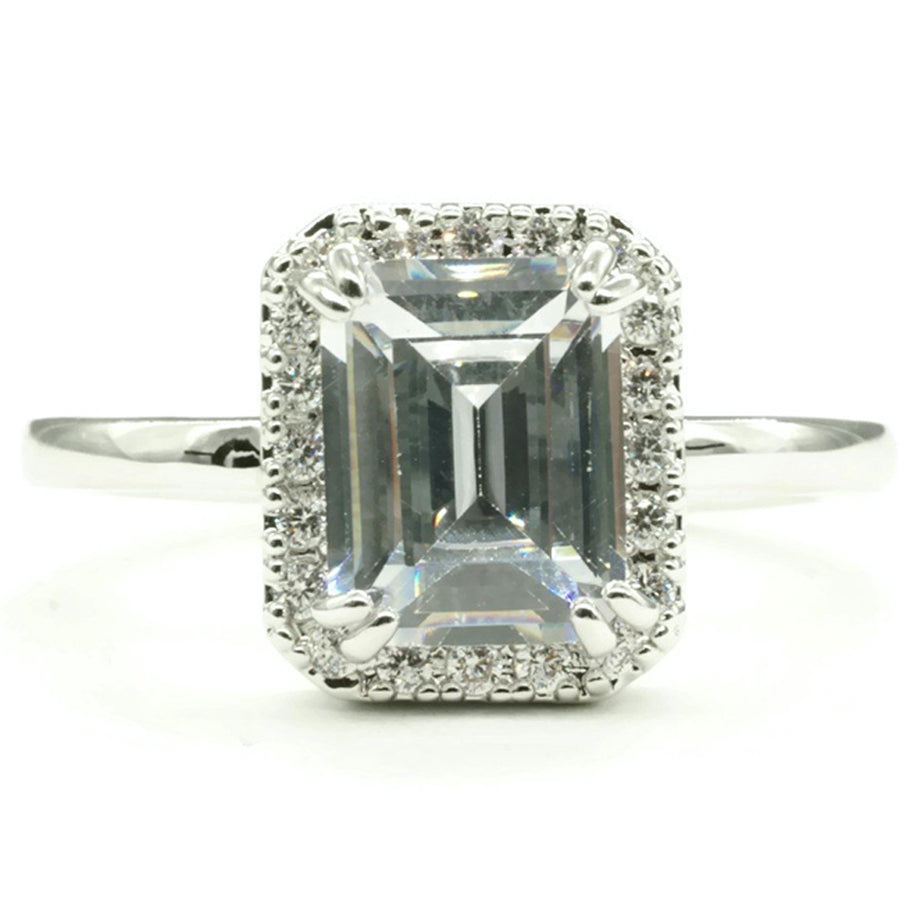 Emerald Cut Engagement Style Halo Setting