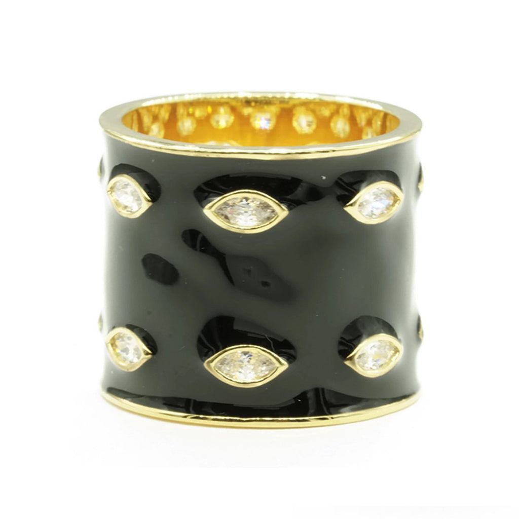 Wide Cylindrical Black Gold Band Clear Stones Ring