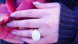 Large Oval Genuine White Stone Ring