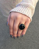 Mesmerizing Faceted Black Stone Openwork Shank Ring