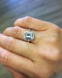 Emerald Cut Halo Engagement Style Gold Tone Ring