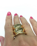 Large Bamboo Inspired Gold Tone Fashion Ring