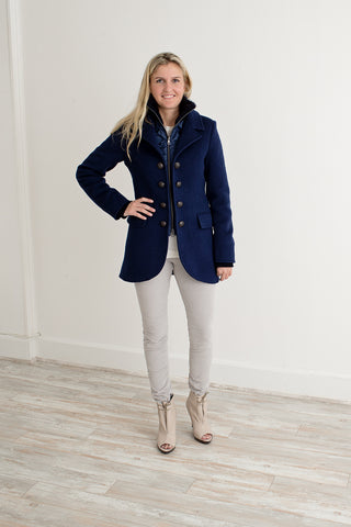 Artico navy shearling and wool jacket