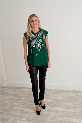 By Malene Birger Emerald Embellished Blouse