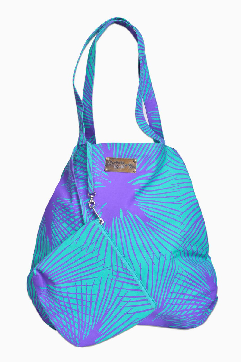 Turquoise & Purple (Hummingbird) - Handmade Batik Tote Bag - Starburst Design