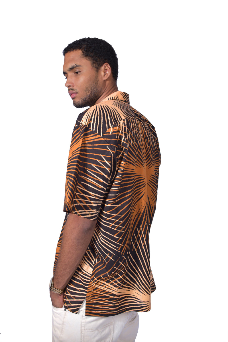 Brown & Beige (Tamarind) - Handmade Batik Men's Shirt - Starburst Design