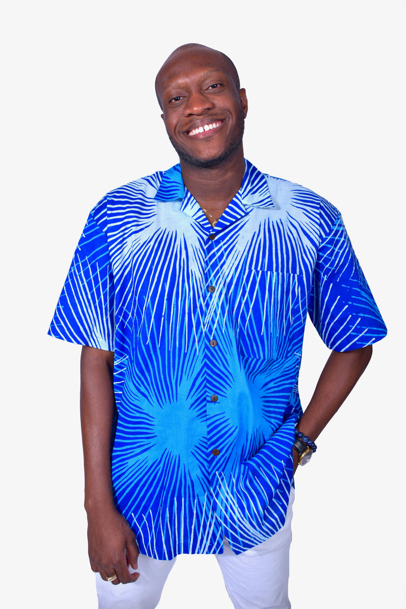 Blue & White (Sky) - Handmade Batik Men's Shirt - Starburst Design
