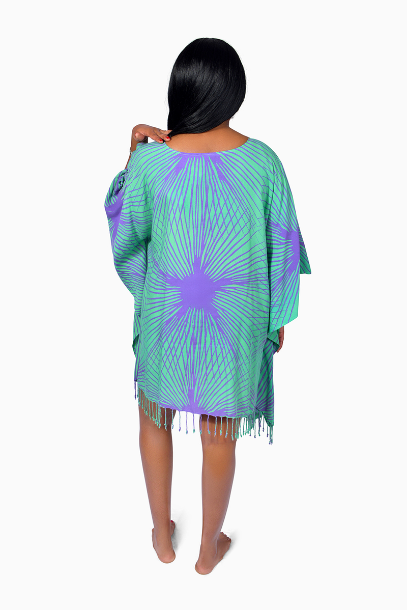 Turquoise & Purple (Hummingbird) - Handmade Batik Cover Up