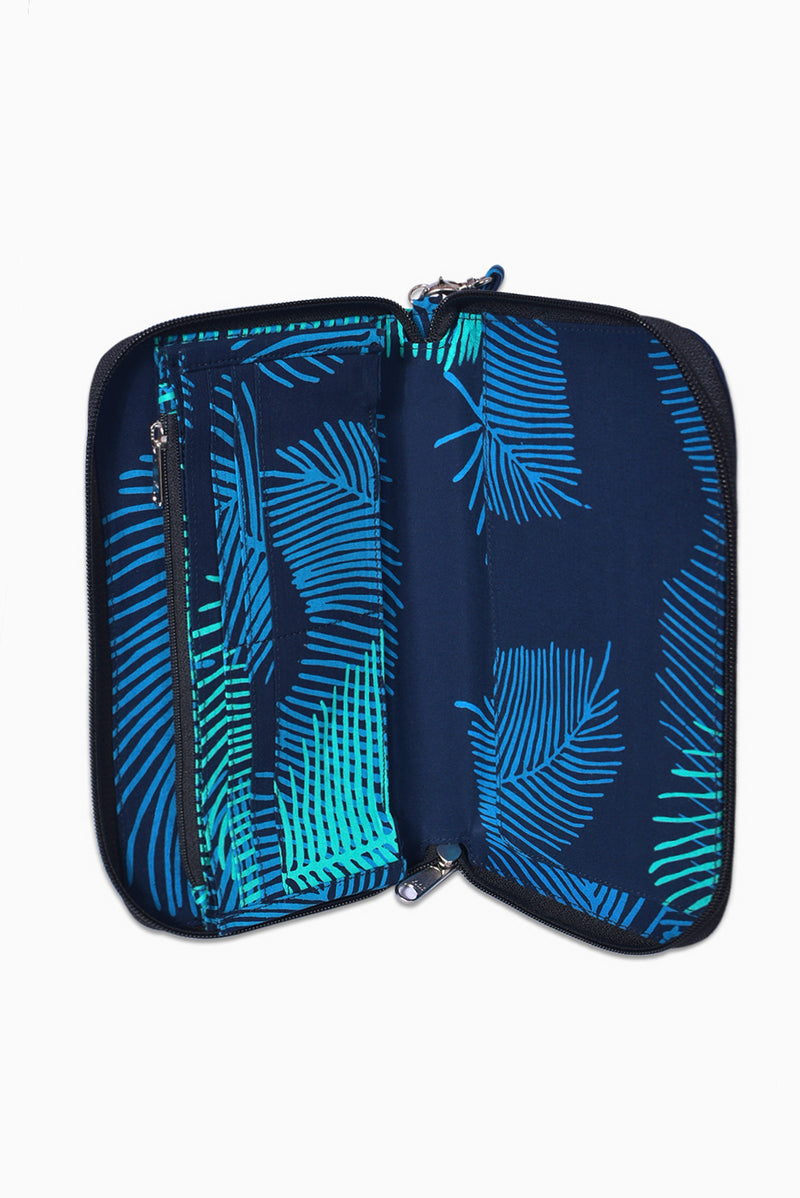 Navy & Turquoise (Ocean) -  Handmade Batik Passport Wallet - Palm Design