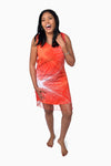 Red, Orange & White (Pomegranate) -  Handmade Batik Tank Frill Dress - Starburst Design