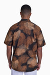Brown & Beige (Tamarind) - Handmade Batik Men's Shirt - Palm Design