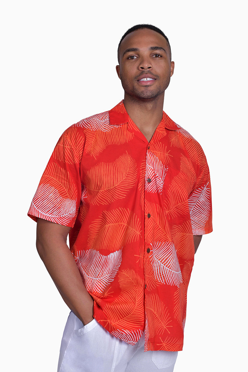 Red, Orange & White (Pomegranate) - Handmade Batik Men's Shirt - Palm Design