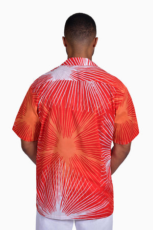 Red, Orange & White (Pomegranate) - Handmade Batik Men's Shirt - Starburst Design