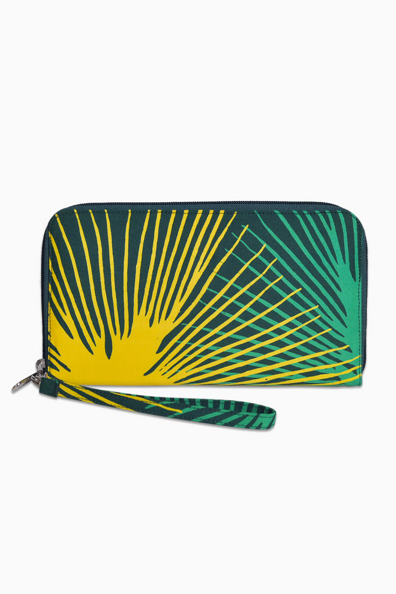 Green & Yellow (Seaweed) -  Handmade Batik Passport Wallet - Starburst Design