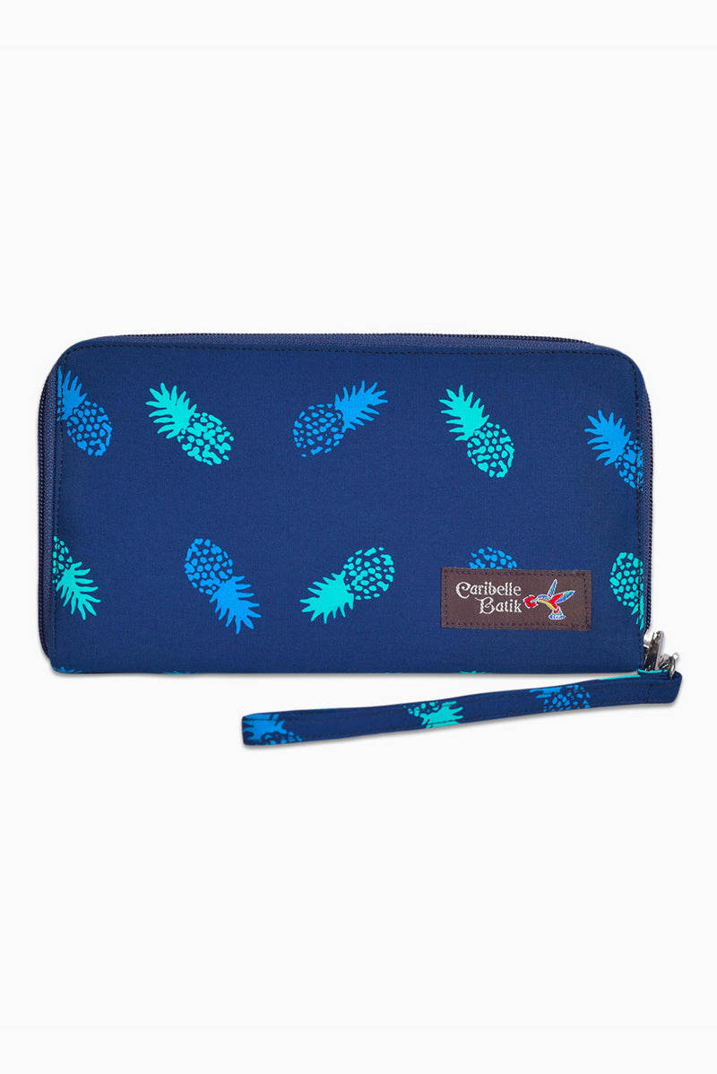 Navy & Turquoise (Ocean) -  Handmade Batik Passport Wallet - Pineapple Design