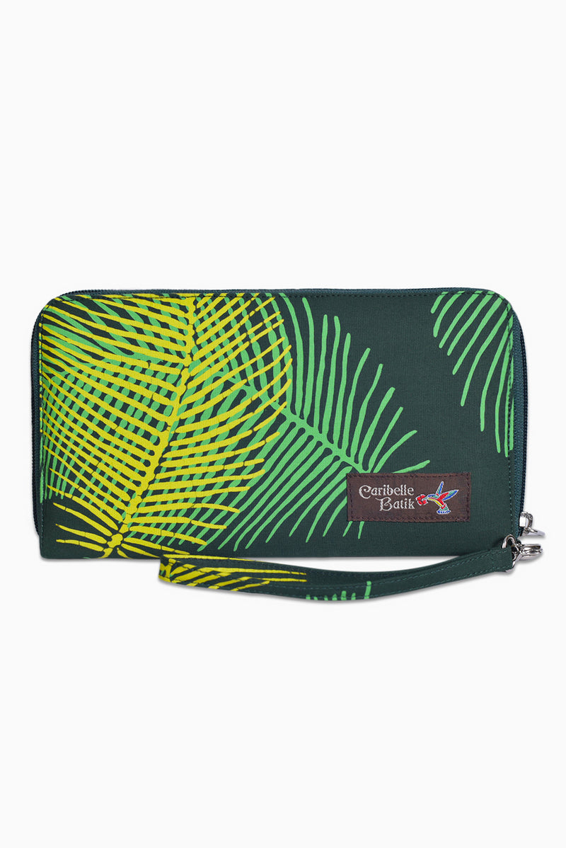 Green & Yellow (Seaweed) -  Handmade Batik Passport Wallet - Palm Design