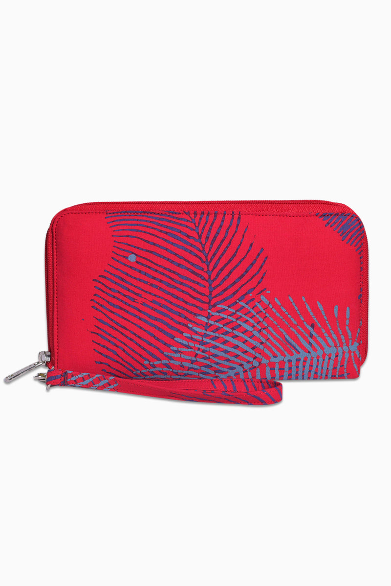 Pink, Purple & Grey (Watermelon) -  Handmade Batik Passport Wallet - Palm Design