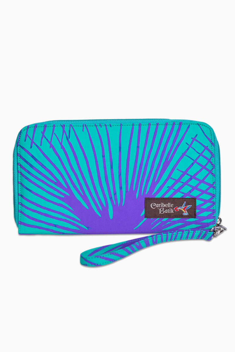 Turquoise & Purple (Hummingbird) -  Handmade Batik Passport Wallet - Starburst Design